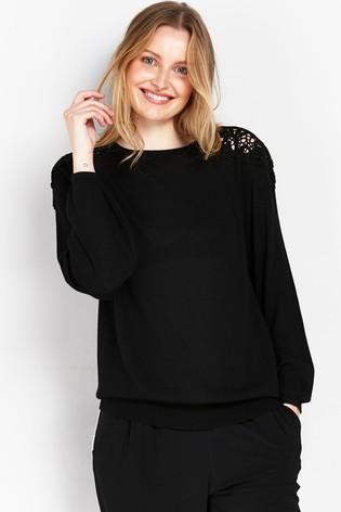 Wallis Petite Black Lace Shoulder Jumper