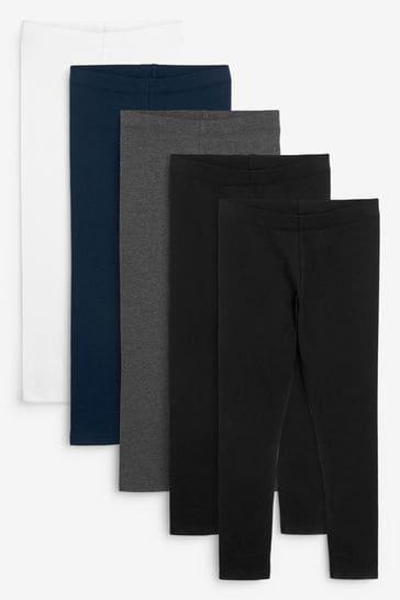 Monochrome 5 Pack Leggings (3-16yrs)