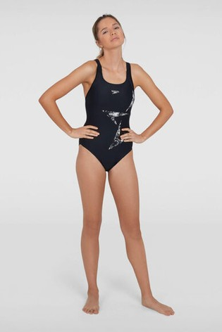 Speedo Womens/' Swimsuit Black//White Boomstar Placement Racerback
