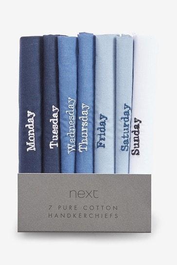 Mixed Blue Days Of The Week Handkerchiefs Seven Pack