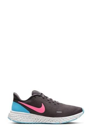 Nike Run Grey/Blue/Pink Revolution 5 Trainers