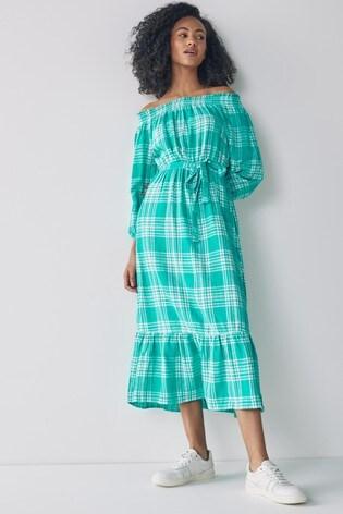 Teal Off The Shoulder Dress