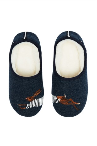 Joules Blue Felt Mule Appliqué Shoes