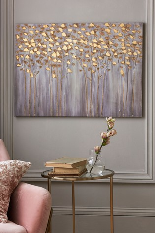 Gold Birch Trees Small Canvas
