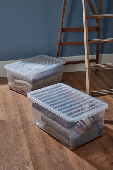 Set of 2 Wham Crystal 45L Plastic Storage Box & Lid