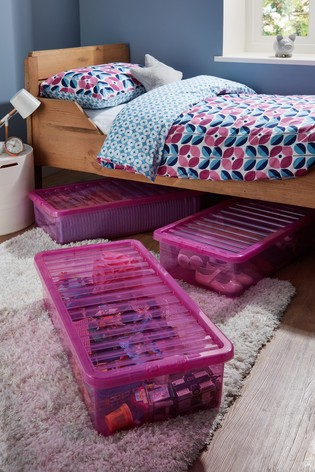 Set of 3 Crystal Underbed 42L Boxes by Wham