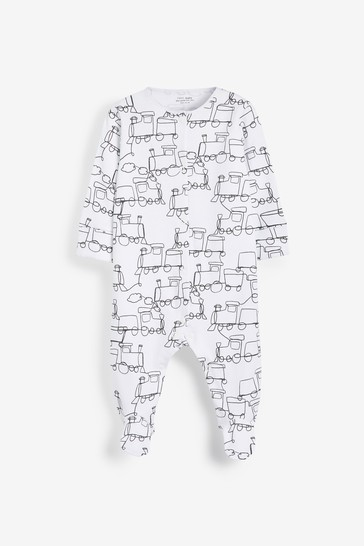 Monochrome Cars 3 Pack Sleepsuits (0-2yrs)