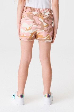 Pink Camo Frayed Hem Denim Shorts (3-16yrs)