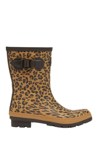 Joules Brown Molly Welly Mid Height Printed Wellies