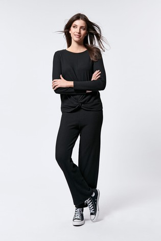 M&Co Wide Leg Ribbed Jersey Trousers