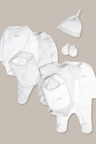 M&Co White/Grey 8 Piece Baby Starter Set