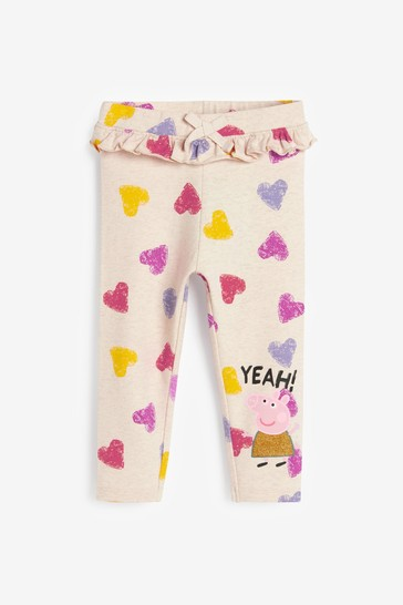 Ecru Peppa Pig Embroidered Leggings (3mths-7yrs)