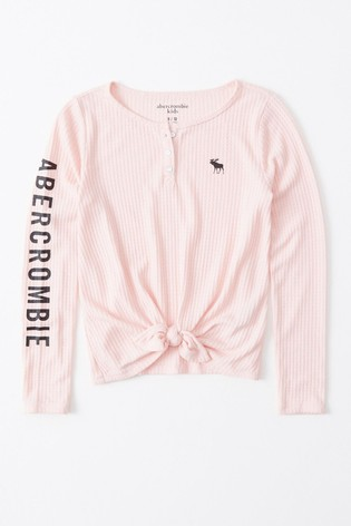 Abercrombie & Fitch Pink Tie Front T-Shirt