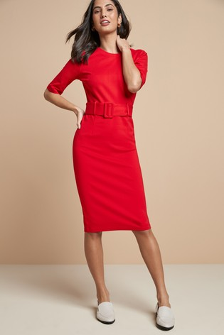 Red Ponte Bodycon Dress