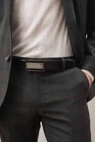 Black/Brown Signature Reversible Plaque Leather Belt
