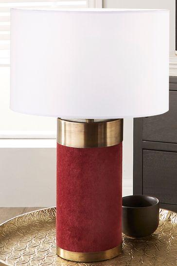 Pacific Red Velvet & Antique Brass Table Lamp