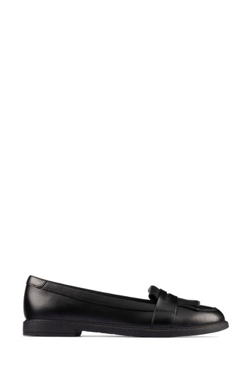 Clarks Black Leather Scala Bright Youths Shoes