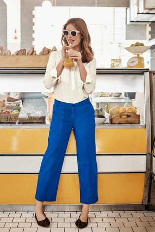 Boden Blue Daisy Cropped Chino Trousers