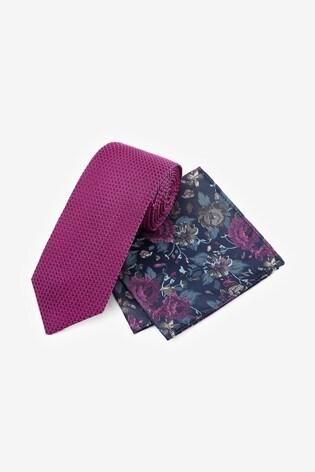 Fuchsia Signature Tie With Pocket Square Set