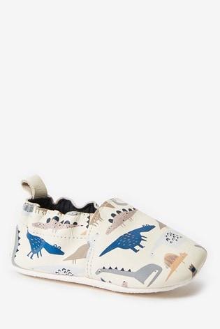 Ecru Dino Leather Slip-On Pram Shoes (0-24mths)