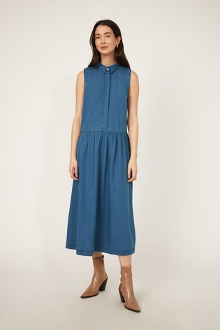 Warehouse Blue Denim Drop Hem Midi Dress