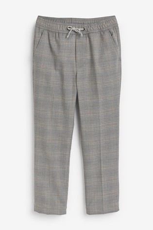 Neutral Check Pull-On Formal Trousers (3-16yrs)