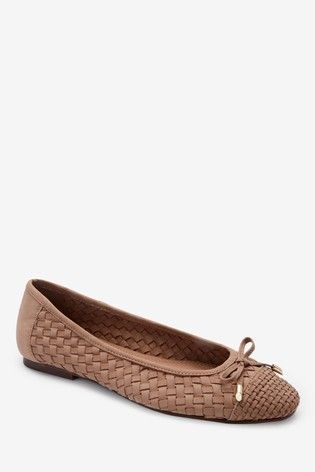 Tan Leather Weave Ballerina Shoes