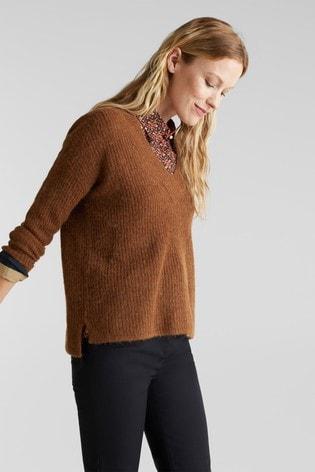 Esprit Brown V-Neck Sweater