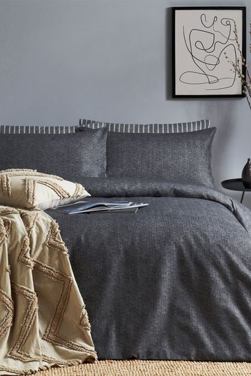 Riva Home Grey Herringbone Stripe Duvet Cover and Pillowcase Set