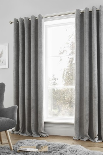 Luxury So Soft Sherpa Fleece Lined Eyelet Curtains by Catherine Lansfield
