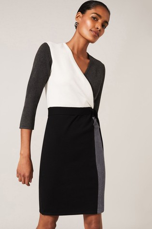Phase Eight Black Bibi Colourblock Wrap Dress