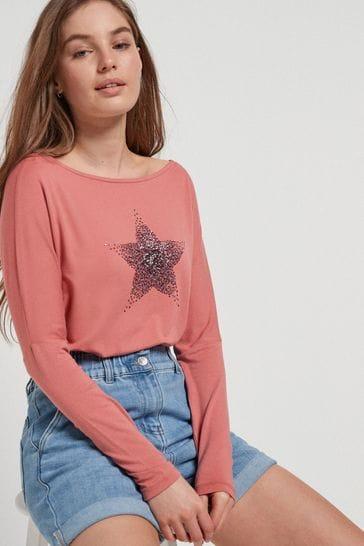 Pink Embellished Star Dolman Long Sleeve Top