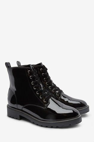 Black Patent Forever Comfort® Cleat Sole Lace-Up Ankle Boots