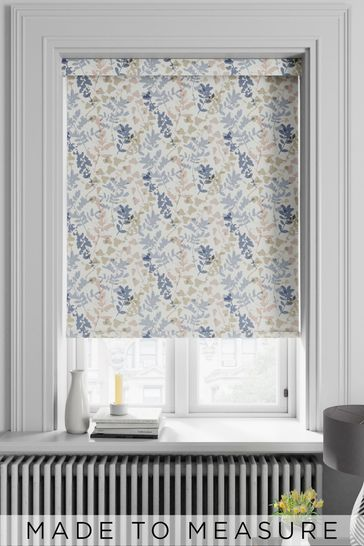 Silhouette Leaf Sky Blue Made To Measure Roller Blind