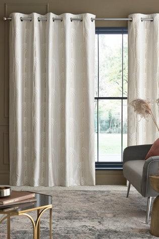 Arch Jacquard Eyelet Curtains