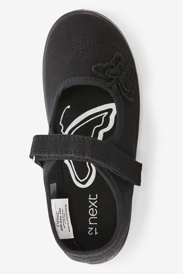 Black Butterfly Embroidered Plimsolls