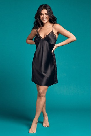 Figleaves Black Marilyn Lace Panel Satin Chemise
