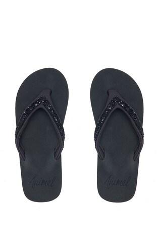 Animal Black Marl Swish Slim Flip Flops