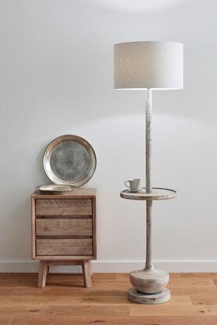 Pacific Hemi Wood Floor Lamp With Table