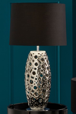 Phillipa Metallic Silver Cut Out Table Lamp by Pacific