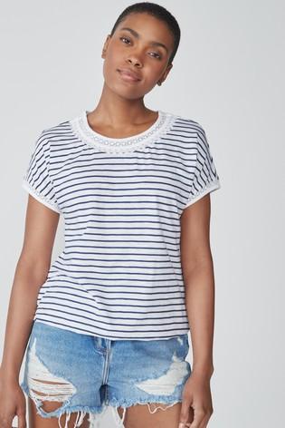 Navy/White Stripe Bubble Hem T-Shirt