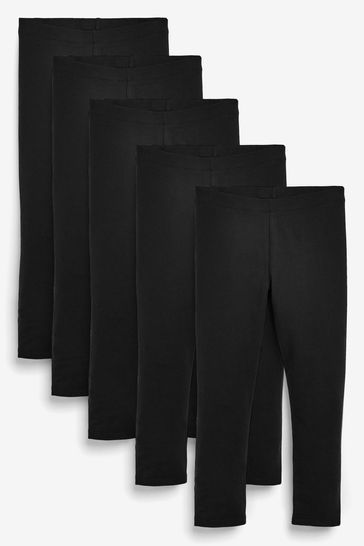 Black 5 Pack Leggings (3-16yrs)