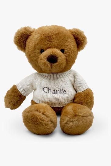 Babyblooms Personalised White Charlie Bear Soft Toy New Baby Gift