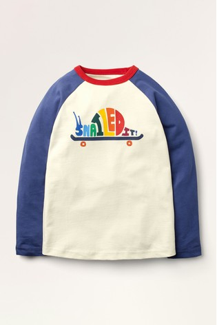 Mini Boden Ivory Rainbow Raglan T-Shirt