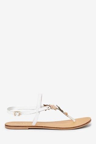 White/Rose Gold 3D Floral Toe Post Sandals