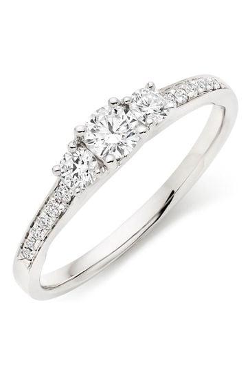 Beaverbrooks 18ct White Gold Three Stone Diamond Ring