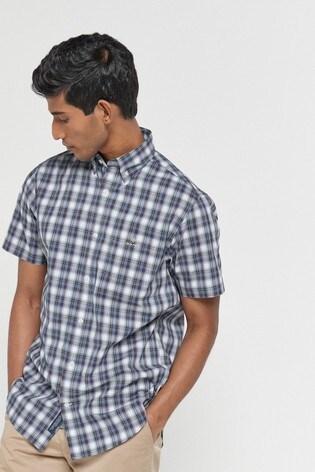 GANT Blue Tech Prep Check Short Sleeve Shirt