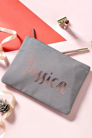 Rose Gold Personalised Grey and Rose Gold Cosmetic Bag