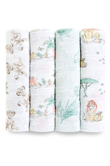aden + anais Disney™ Baby The Lion King Large Swaddles Four Pack Cotton Muslins