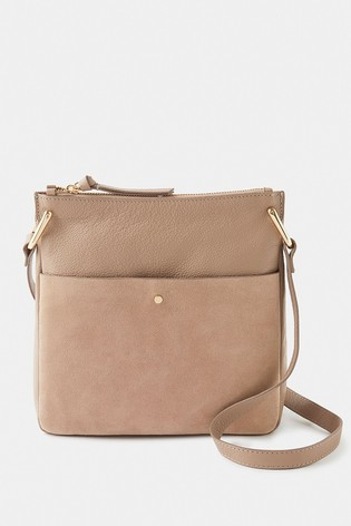 Accessorize Nude Alessie Zip Leather Messenger Bag